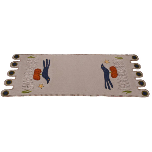 Sitting on a Fence Gray Table Runner