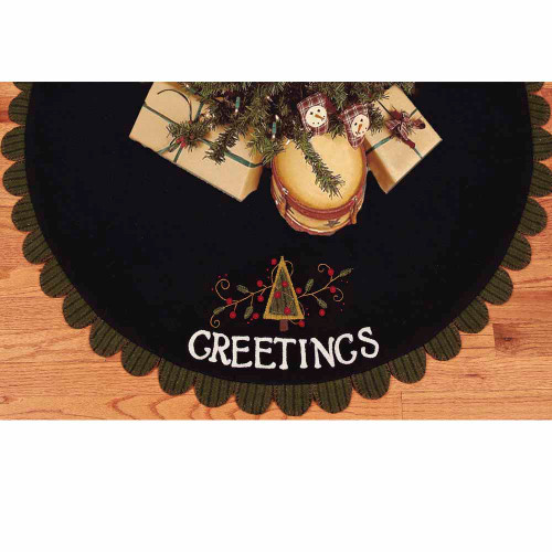 Greetings Black Tree Skirt