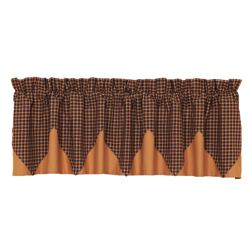 Patriotic Patch Plaid Valance Layered Lined 16x72