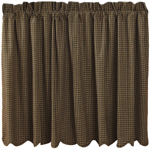 Kettle Grove Plaid Tier Scalloped Lined Set of 2 L36xW36