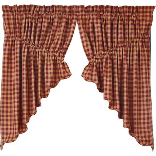 Burgundy Check Scalloped Prairie Swag Set of 2 36x36x18