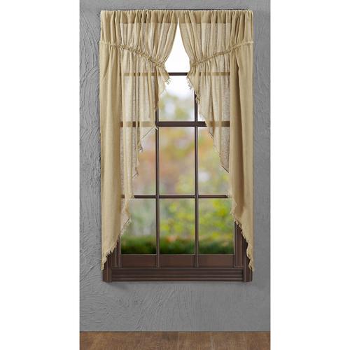 Tobacco Cloth Khaki Prairie Curtain Fringed Set 2 63x36x18