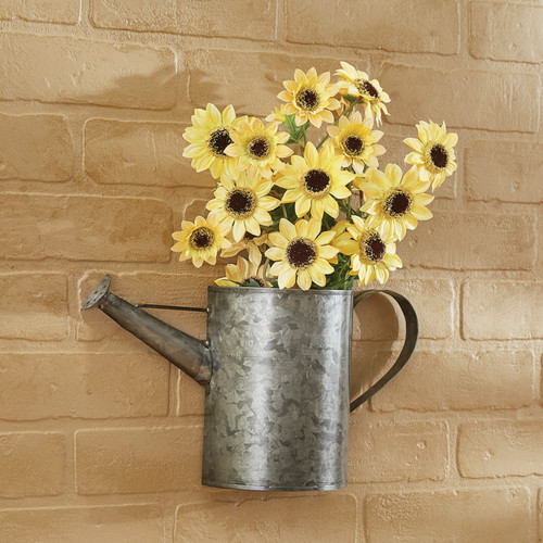 WATERING CAN WALL POCKET GALVANIZED