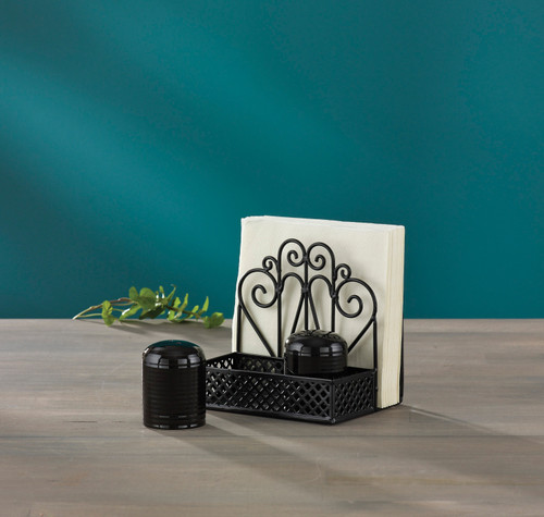 S&P AND NAPKIN HOLDER BLACK