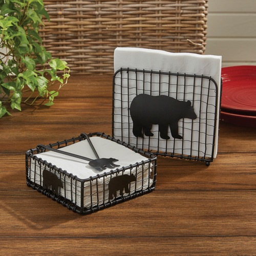 BLACK BEAR WIRE BEVERAGE NAPKIN HOLDER