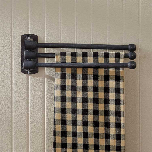 3 PRONG WOOD TOWEL RACK-BLK