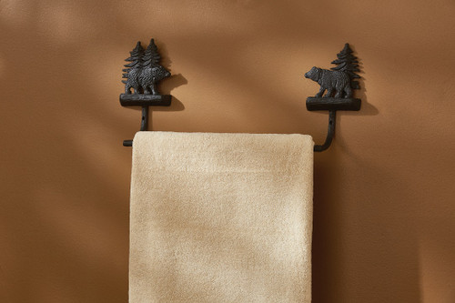 CAST BLACK BEAR TOWEL BAR 16