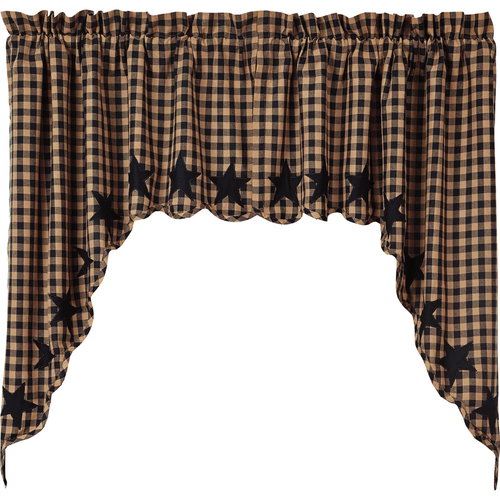 Black Star Scalloped Swag Set of 2 36x36x16