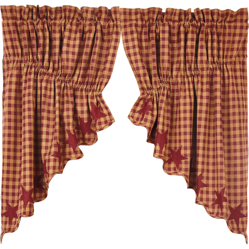 Burgundy Star Scalloped Prairie Swag Set of 2 36x36x18