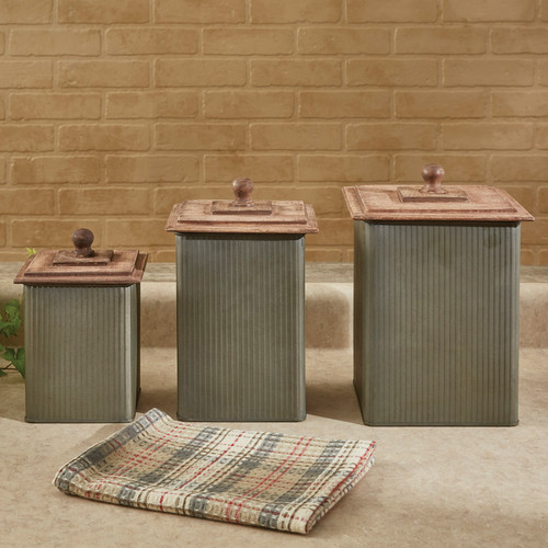 NORWOOD CANISTERS WITH WOOD LIDS SET OF 3