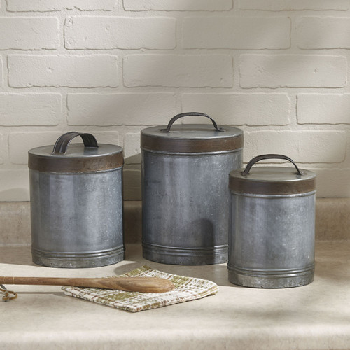 GALVANIZED CANISTERS SET/3