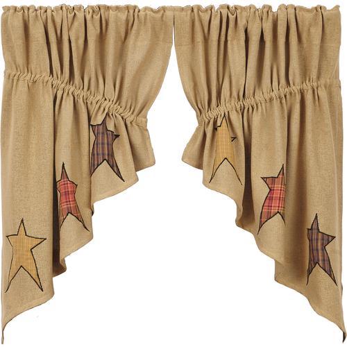 Stratton Burlap Applique Star Prairie Swag Set of 2 36x36x18