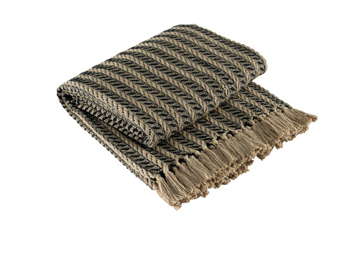 CABLE THROW BLACK & TAN