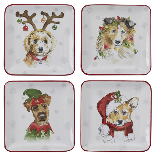 HOLIDAY PAWS SALAD PLATE - 4 ASSORTED