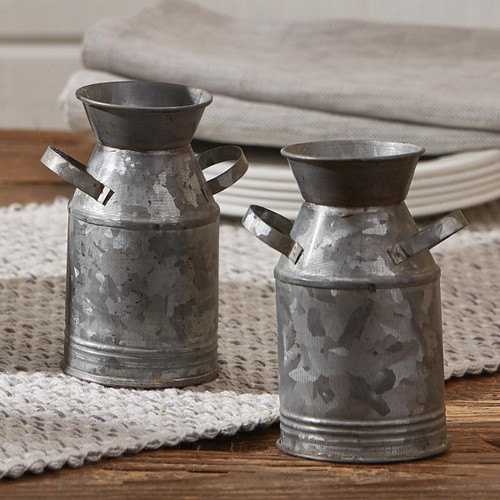 GALVANIZED MILK CAN S&P SET