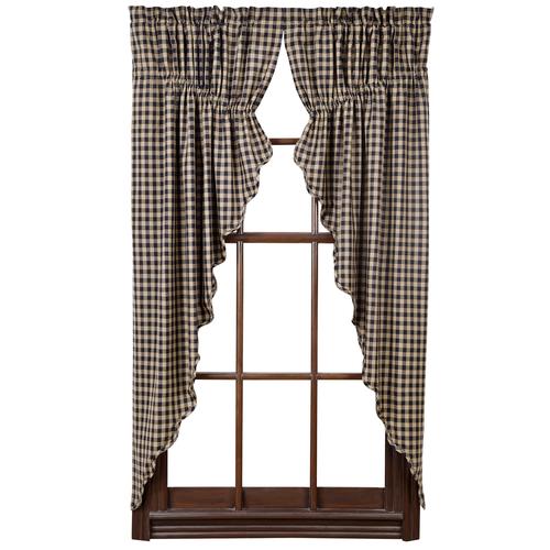 Black Check Scalloped Prairie Curtain Set of 2 63x36x18