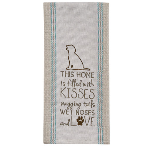 FILLED WITH KISSES EMBROIDERED DISHTOWEL