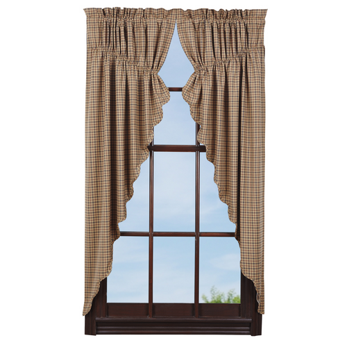 Millsboro Prairie Curtain Scalloped Lined Set of 2 63x36x18