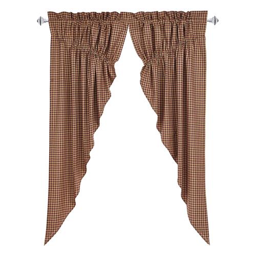 Patriotic Patch Plaid Prairie Curtain Set of 2 36x63x18