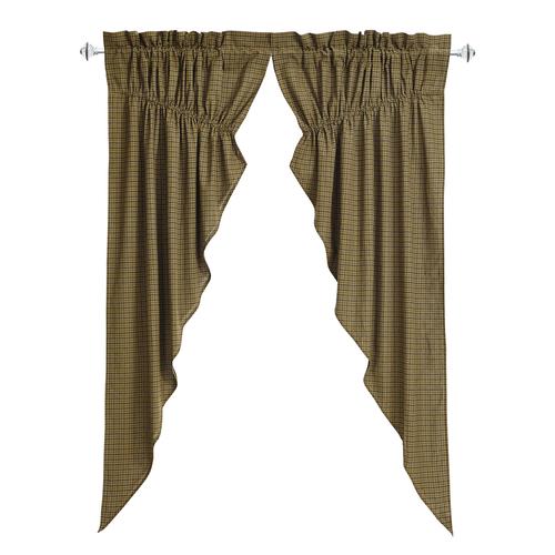 Tea Cabin Green Plaid Prairie Curtain Set 2 63x36x18