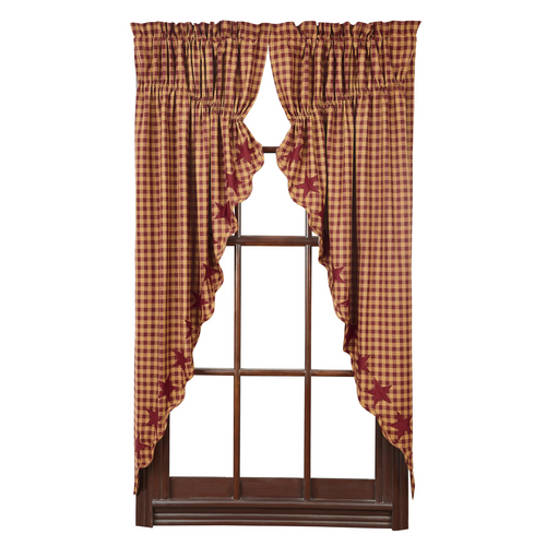 Burgundy Star Scalloped Prairie Curtain Set of 2 63x36x18