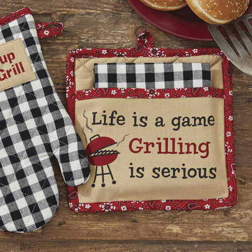 GRILLING IS SERIOUS POCKET POTHOLDER SET