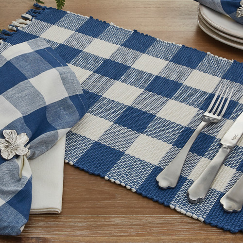 WICKLOW CHECK TABLE RUNNER 13X36 CHINA BLUE