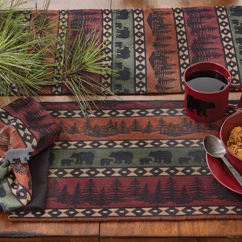 MOUNTAIN BEAR TABLE RUNNER 13X54