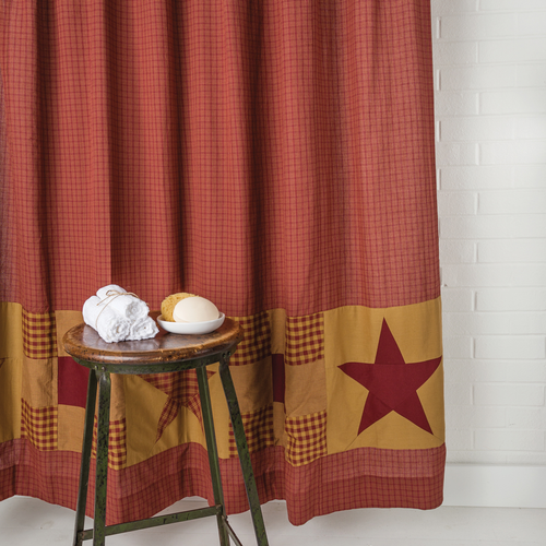 Ninepatch Star Shower Curtain w/ Patchwork Borders 72x72