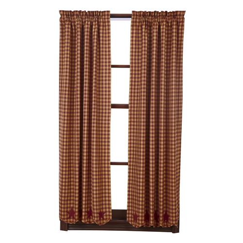 Burgundy Star Scalloped Short Panel Set of 2 63x36