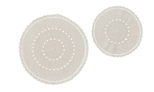 "LACE ACCENT MAT S/2 8"" & 10.5""-CREAM"