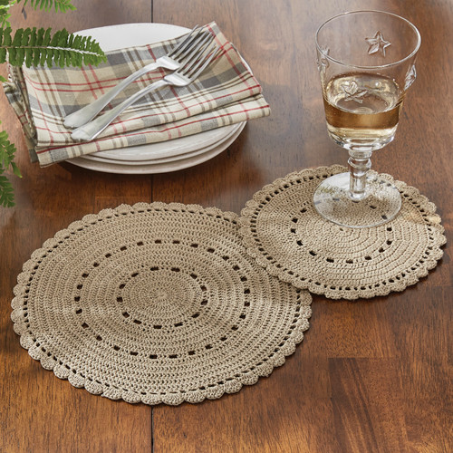 LACE ACCENT MAT SET OF 2 OATMEAL