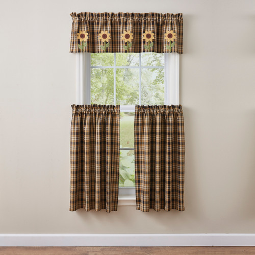SUNFLOWER IN BLOOM LINED APPLIQUE VALANCE 60X14