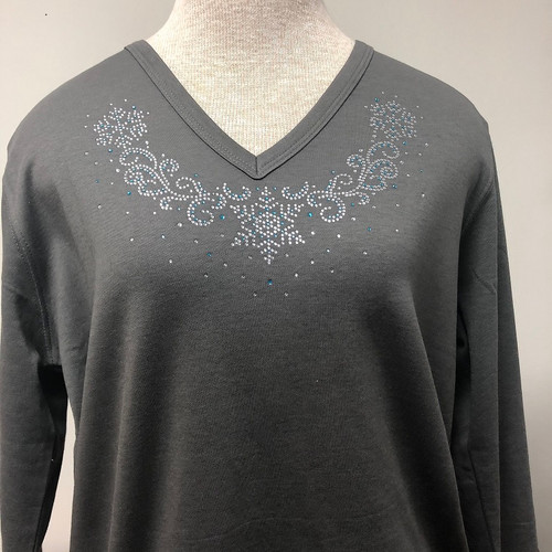 Dainty Snowflake V-Neck Top