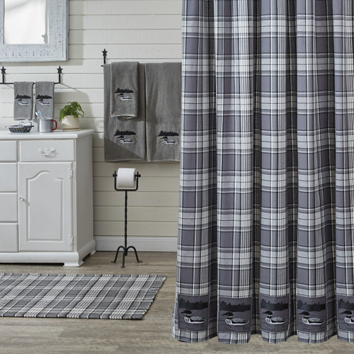 Grey Area Shower Curtain w Loon