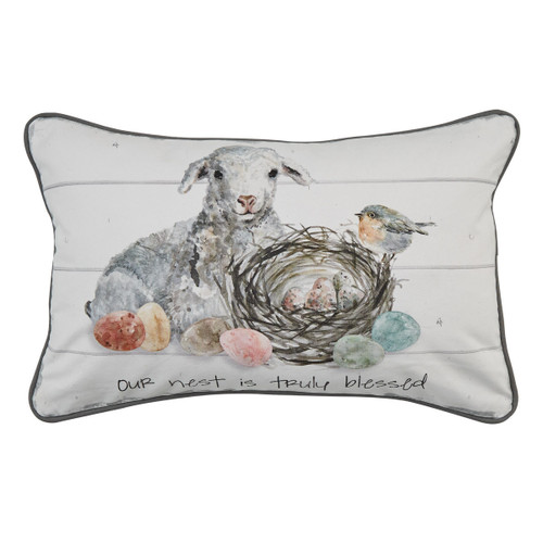 OUR NEST IS TRULY BLESSED PILLOW 12X20 - POLY