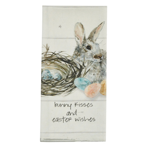 BUNNY KISSES AND EASTER WISHES PRINTED DISHTOWEL