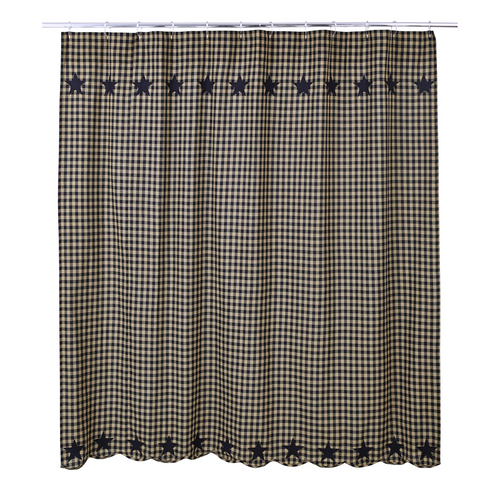 Black Star Shower Curtain 72x72