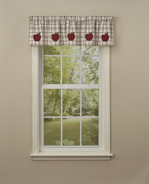 APPLE ORCHARD APPLIQUE LINED VALANCE 60X14