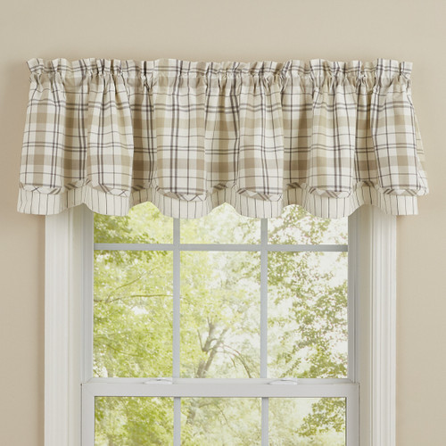 IN THE MEADOW PLAID LINED LAYERED VALANCE 72X16