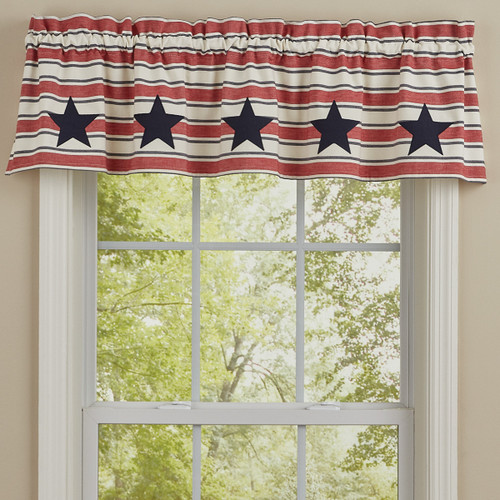 STARS AND STRIPES PATCH LINED VALANCE 60X14
