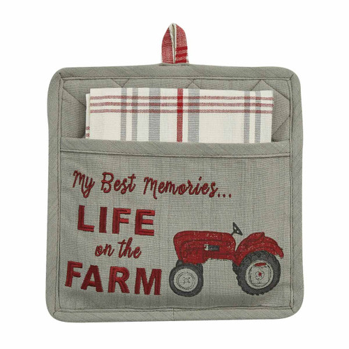 LIFE ON THE FARM POCKET POTHOLDER SET