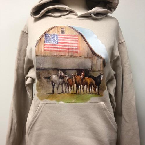 Horses Flag Barn Hoodie
