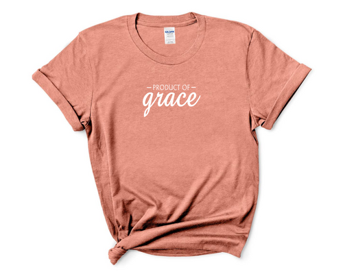 """Product of Grace"" on Heather Bronze Tee"