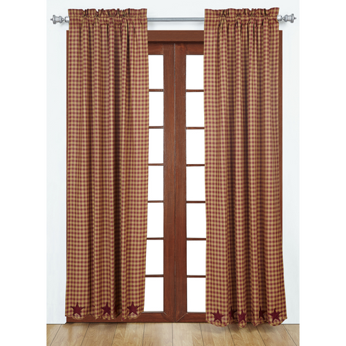 Burgundy Star Scalloped Panel Set of 2 84x40