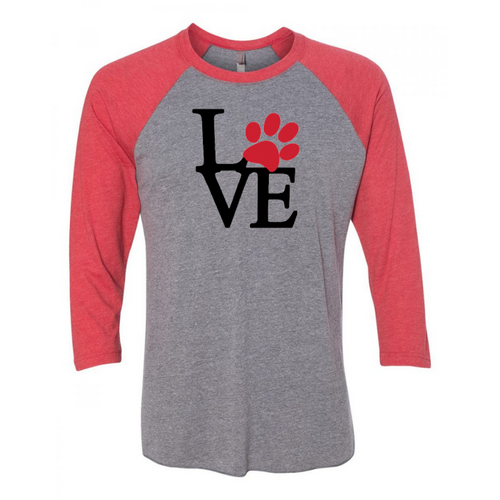 Paw (LOVE) Raglan 3/4 Sleeve Top