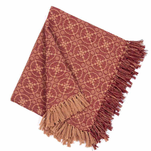 "Marshfield Jacquard 50"" x 60"" Barn Red - Tan"