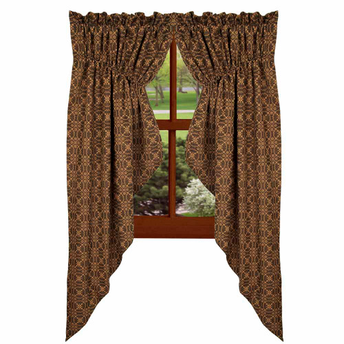 "Marshfield Jacquard 72"" x 63"" (2 pcs) Black - Tan"