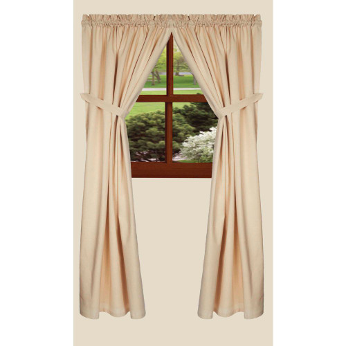"Osenburg 72"" x 63"" (2 pcs)(pair of fabric tiebacks included) Cream"