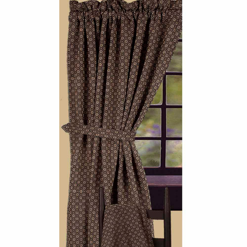 "Kingston Jacquard 84"" x 86"" (2 pcs)(pair of fabric tiebacks included) Black - Nutmeg"